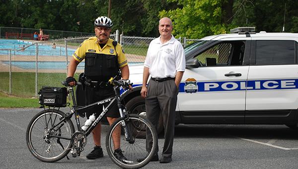 Mayor Geoghan and officer DeJesus at the East Pete Community Pool